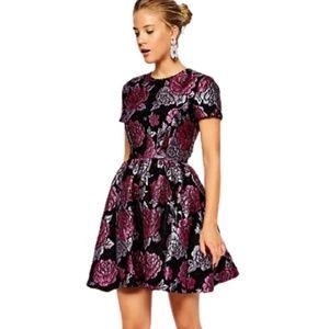 ASOS Structured Dolly Skater Dress Floral Black 0